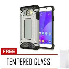 Case iron Tough Armor Carbon For Samsung Galaxy J5 Prime Series - Silver + Free Tempered