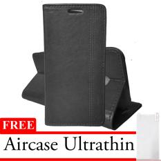 Case Leather Eve For Oppo Oppo F1S Free Ultrathin Black Asli