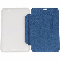 Case Leather Flip Cover Kulit For Tablet Lenovo A5000 Ukuran 7.0 Inch Leather Stand Smart Cover/ Sarung Pelindung Tablet - Biru Tua