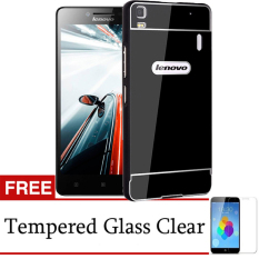 Beli Case Lenovo A7000 Plus Metal Bumper Backcase Hitam Gratis Tempered Glass Baru