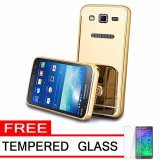 Jual Case Metal For Samsung Galaxy J2 Prime Aluminium Bumper With Mirror Backdoor Slide Gold Free Tempered Glass Original