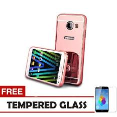 Toko Jual Case Metal For Samsung Galaxy J7 Prime Aluminium Bumper With Mirror Backdoor Slide Rose Gold Free Tempered Glass