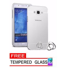 Case Metal for Samsung Galaxy V2 (G106) Aluminium Bumper With Mirror Backdoor Slide – Silver + Free Tempered Glass