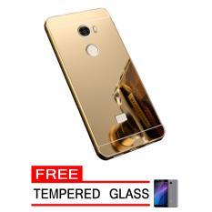 Case Metal for Xiaomi Redmi 4 Aluminium Bumper With Mirror Backdoor Slide - Gold + Free Tempered Gl