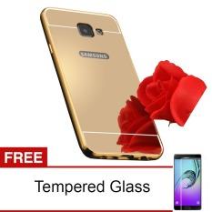 Case Mirror Aluminium Bumper with Slidding For Samsung Galaxy A710 / A7 2016 - Emas + Gratis Temper