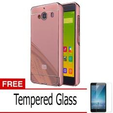 Case Mirror Aluminium Bumper with Slidding For Xiaomi Redmi 2s - Rose Gold + Gratis Tempered