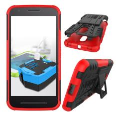 Case Moto E3 Power Rugged Armor With Kickstand - Merah
