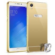 MR Case Oppo Neo 9 A37 Bumper Mirror Sleding Metal Back Case Bumper Cermin - Gold