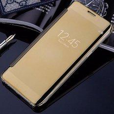 Case Samsung Galaxy A3 2017 (A320)  Flipcase Flip Mirror Cover S View Transparan Auto Lock Casing Hp- Gold