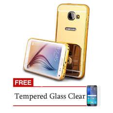 Case Samsung Galaxy A5 2016 (A510) Metal Bumper With Mirror Backcase Slide - Emas + Gratis Tempered