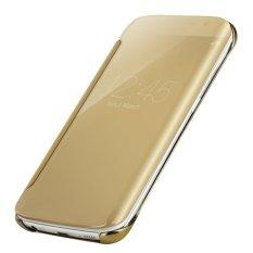 Case Samsung Galaxy S7 EDGE Flipcase Flip Mirror Cover S View Transparan Auto Lock Casing Hp- Gold