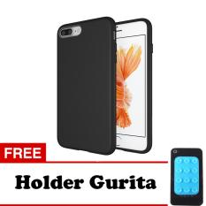 Case Slim Black Matte iPhone 8 Plus Softcase Black + Free Holder Gurita