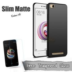 Case Slim Black Matte Xiaomi Redmi 5A Baby Skin Softcase Ultra Thin Jelly Silikon Babyskin + Tempered Glass