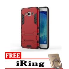Case TPU + PC Phone Case for Samsung Galaxy J7 2016 ( J710 ) – Red + GRATIS iRing