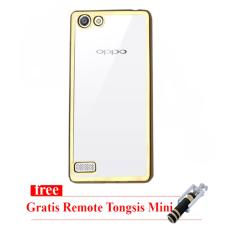 Case Ultrathin Shining Chrome for Oppo F1s / A59 - Gold - Tongsis Mini Selfie Stick Dengan Remote Shutter