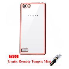 Case Ultrathin Shining Chrome for Oppo F1s / A59 - Rose gold - Tongsis Mini Selfie Stick Dengan Remote Shutter