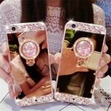 Case Vivo V7 Biasa Luxury Rose Gold Diamond Crystal Hardcase Softcase Cover Ring Bling Asli