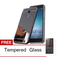 Spesifikasi Case Xiaomi Redmi Note 4 Bumper Mirror Slide Hitam Tempered Glass Paling Bagus