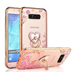 Case Haven Galaksi Note 8 Case, berkilau Kristal Jantung Bunga Seri-Ramping Mewah BLING Berlian Buatan Bening TPU Case dengan Lingkaran Penyangga untuk Samsung Galaksi Note 8 (Rilis 2017) -Mawar Emas-Internasional
