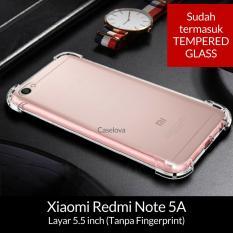 Caselova Anti Crack TPU Shockproof Case for Xiaomi Redmi Note 5A Standar (Non Fingerprint) - Clear + Tempered Glass
