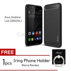 Caselova Premium Quality Carbon Shockproof Hybrid Case for Asus Zenfone Live ZB501KL - Black + Gratis Iring Phone Holder