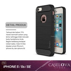 Caselova Premium Quality Carbon Shockproof Hybrid Case for iPhone 5 / 5s / SE - Black