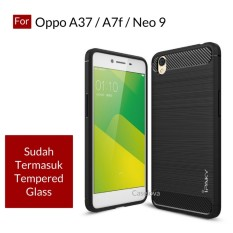 Caselova Premium Quality Carbon Shockproof Hybrid Case for Oppo A37 / A37f / Neo 9 ( sama ukuran ) - Black + Gratis Tempered Glass