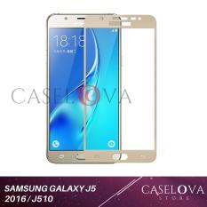 Caselova Premium Tempered Glass Warna Full Cover For Samsung Galaxy J5 2016 / J510 - Gold