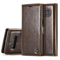Case Saya-003 untuk Samsung Galaxy Note 8 PU + PC Gaya Bisnis Tekstur Kuda Gila Horisontal Flip Case Kulit dengan pemegang dan Slot Kartu dan Dompet (Coklat) -Intl