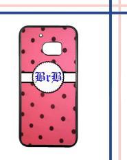 Casing gambar motif HARDCASE untuk hp HTC One M10 polkadot pinky nama inisial sendiri T0132