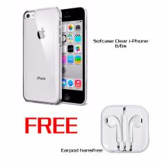 Casing Softcase Clear i-Phone 6/6S Transparan free Earpod Putih