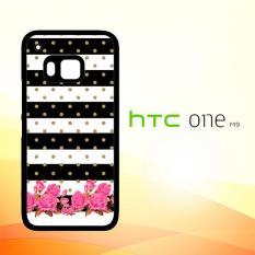 Casing Untuk HTC M9 Flower Stripes Polka E0220
