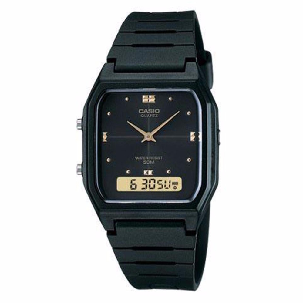 Jual Casio Analog Digital Aw 48He 1A Jam Tangan Unisex Hitam Resin Band Branded Murah