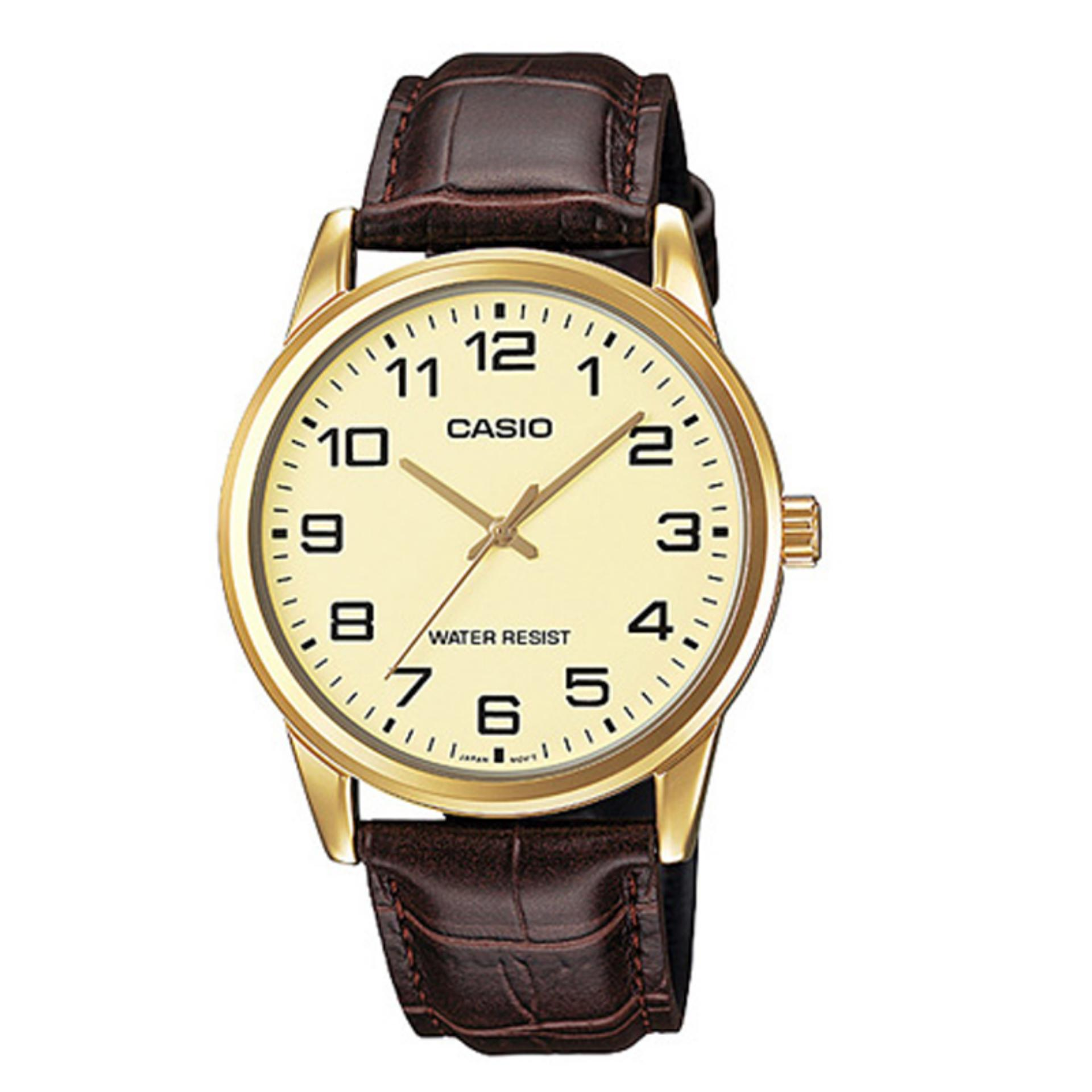 Jual Casio Analog Mtp V001Gl 9B Jam Tangan Pria Coklat Leather Band Casio Ori