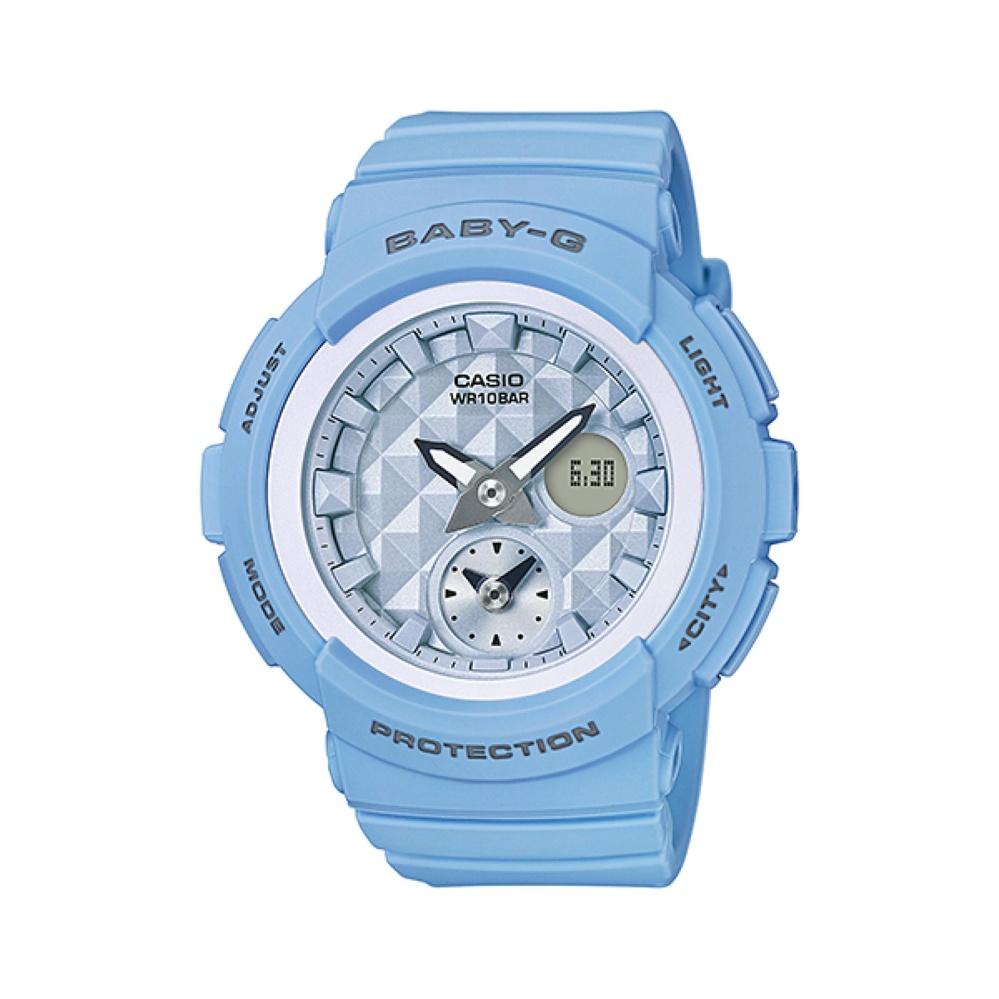 Casio BABY-G BGA-190BE-2ADR - Dual Time - Multifunction - Jam Tangan Wanita - Bahan Tali Resin - Biru Pastel