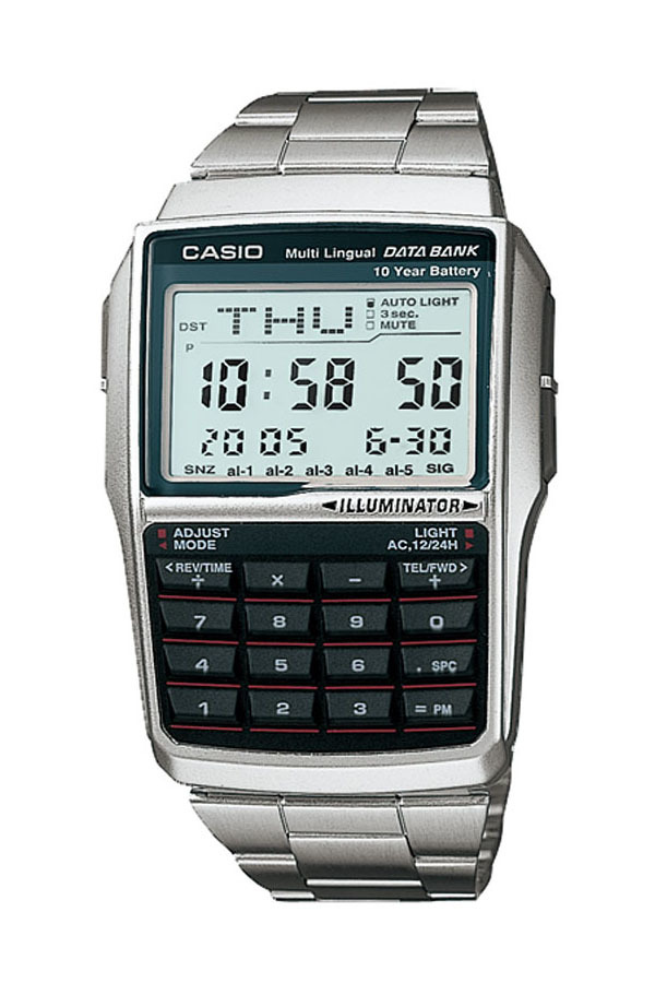 Casio Databank DBC-32D-1A - Jam Tangan Unisex - Silver - Stainless Steel Band