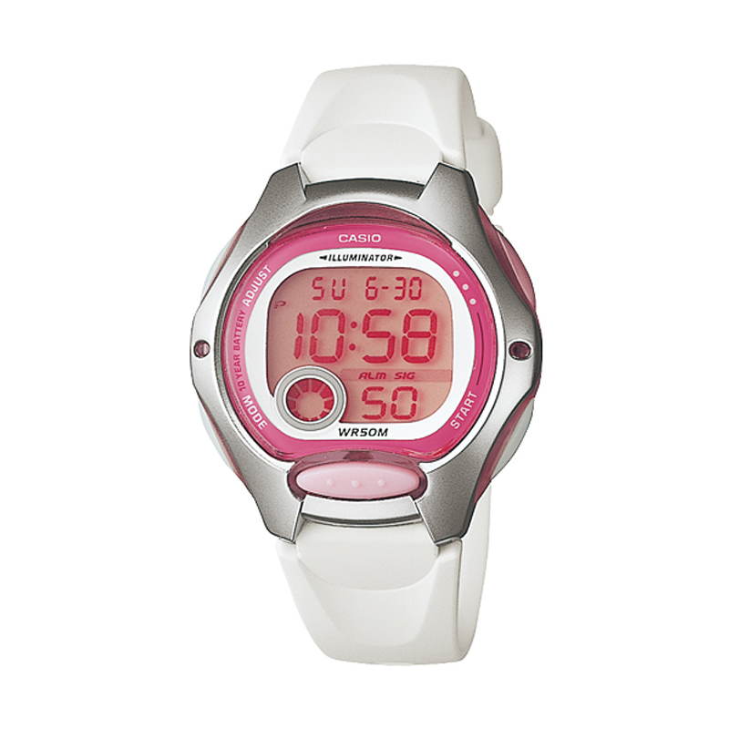 Promo Casio Digital Lw 200 7Av Jam Tangan Wanita Putih Resin Band Casio Terbaru