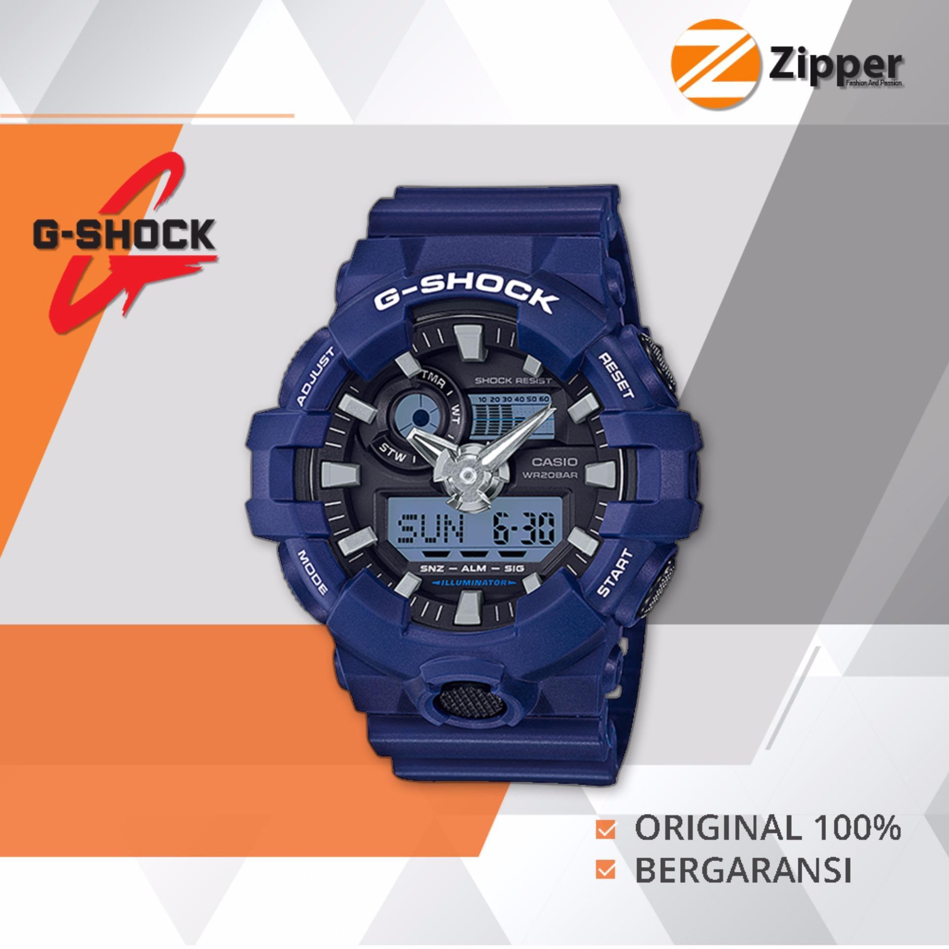 Casio G-Shock Jam Tangan Prial Dual Time Analog Digital GA-700 Series - Tali Karet