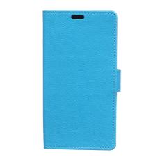Cass Leather Flip Case dengan Slot Kartu untuk ZTE Blade S6 Plus Warna Biru.