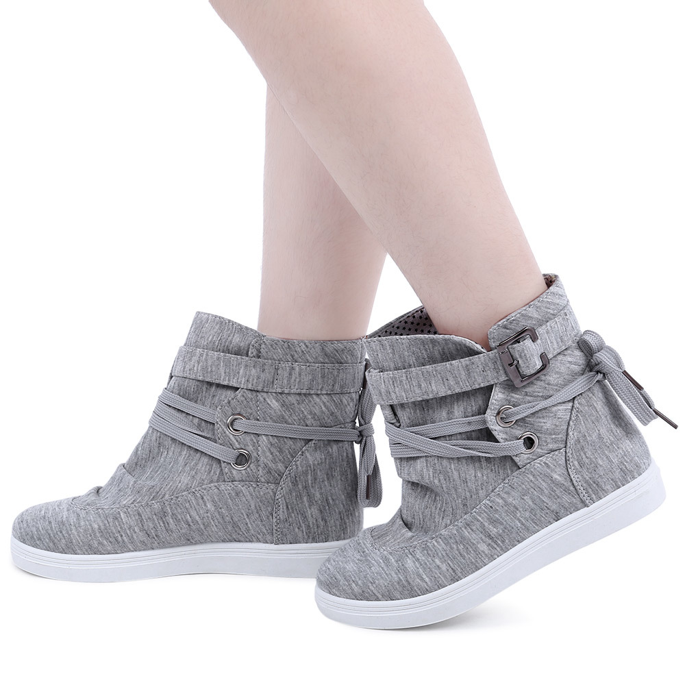 Beli Casual Pure Warna Lace Up Dunk High Canvas Shoes Grey Intl Oem Murah