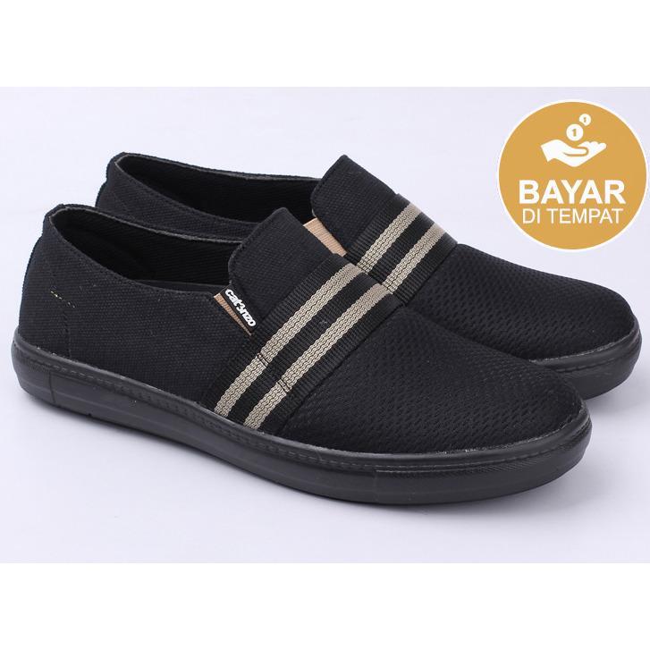 Catenzo GN 018 Sepatu Slip On Pria - bahan canvas - tpr outsole - bagus dan