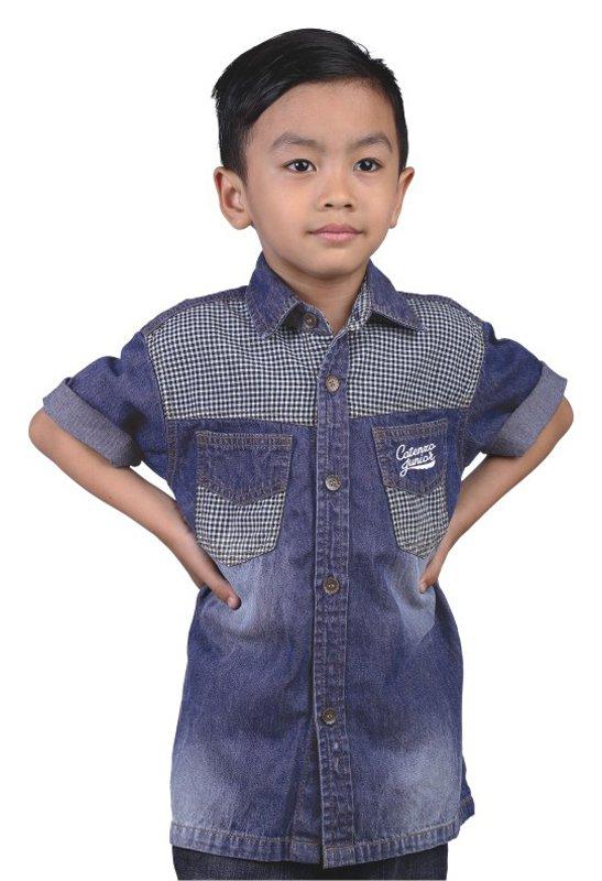 Catenzo Junior Kemeja Lengan Pendek Anak Laki-Laki - Denim-35 Cmt 126-Biru