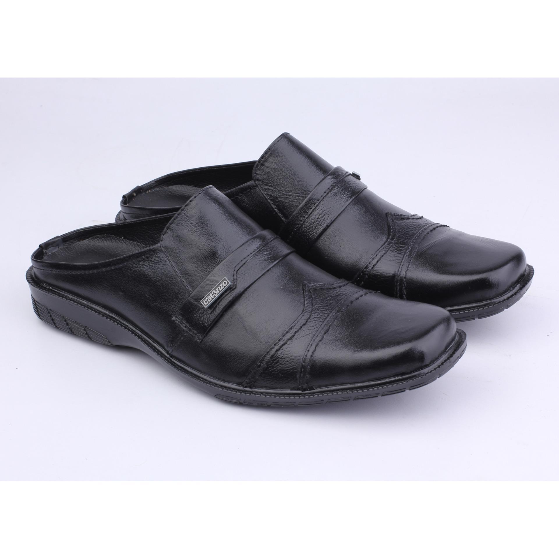 Harga Catenzo Sandal Pantofel Kulit Pria Sepatu Sandal Ya 042 Hitam Jawa Barat