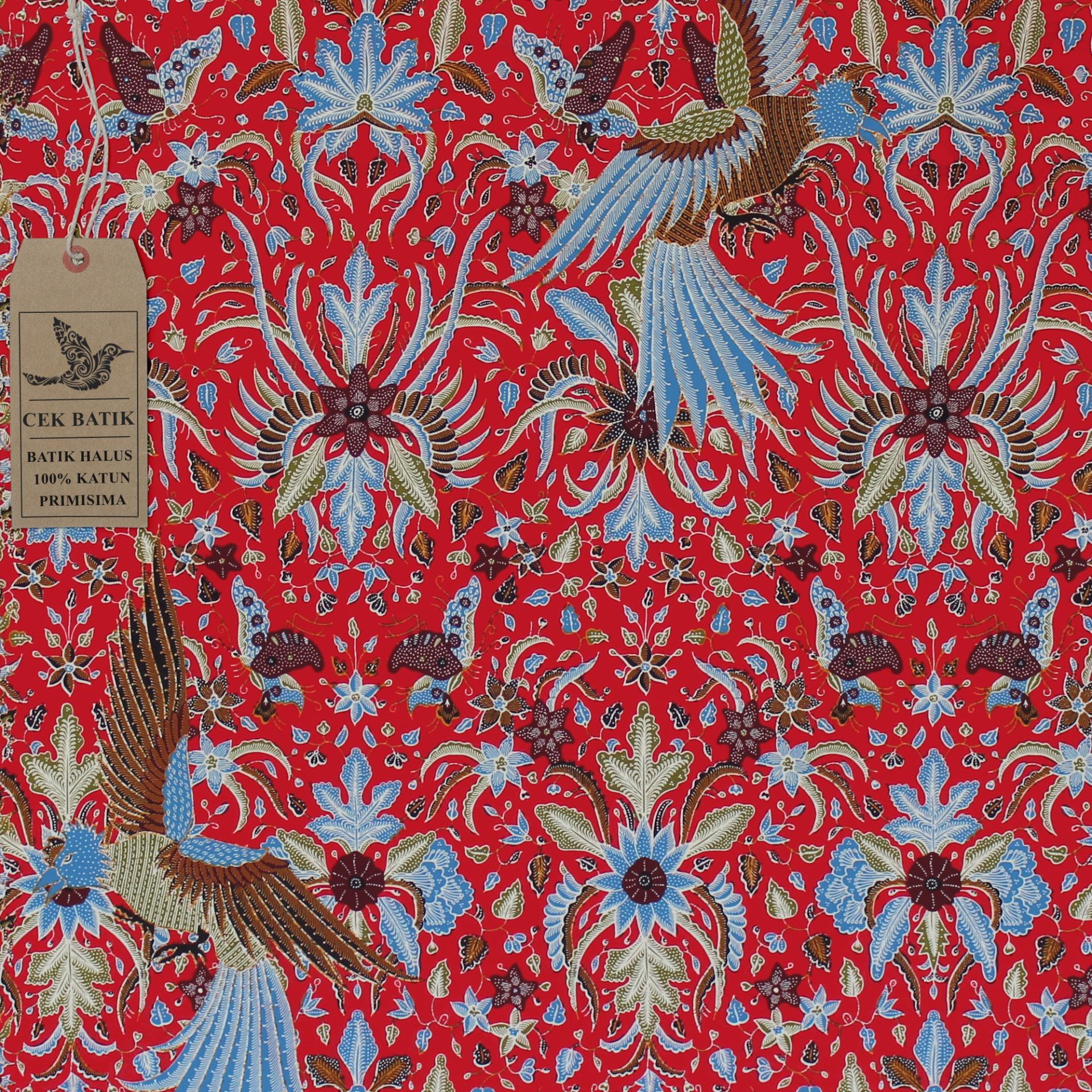 Cek Batik - Kain Batik Motif Garuda Indonesia Favorit Presiden Jokowi (Merah Manis)