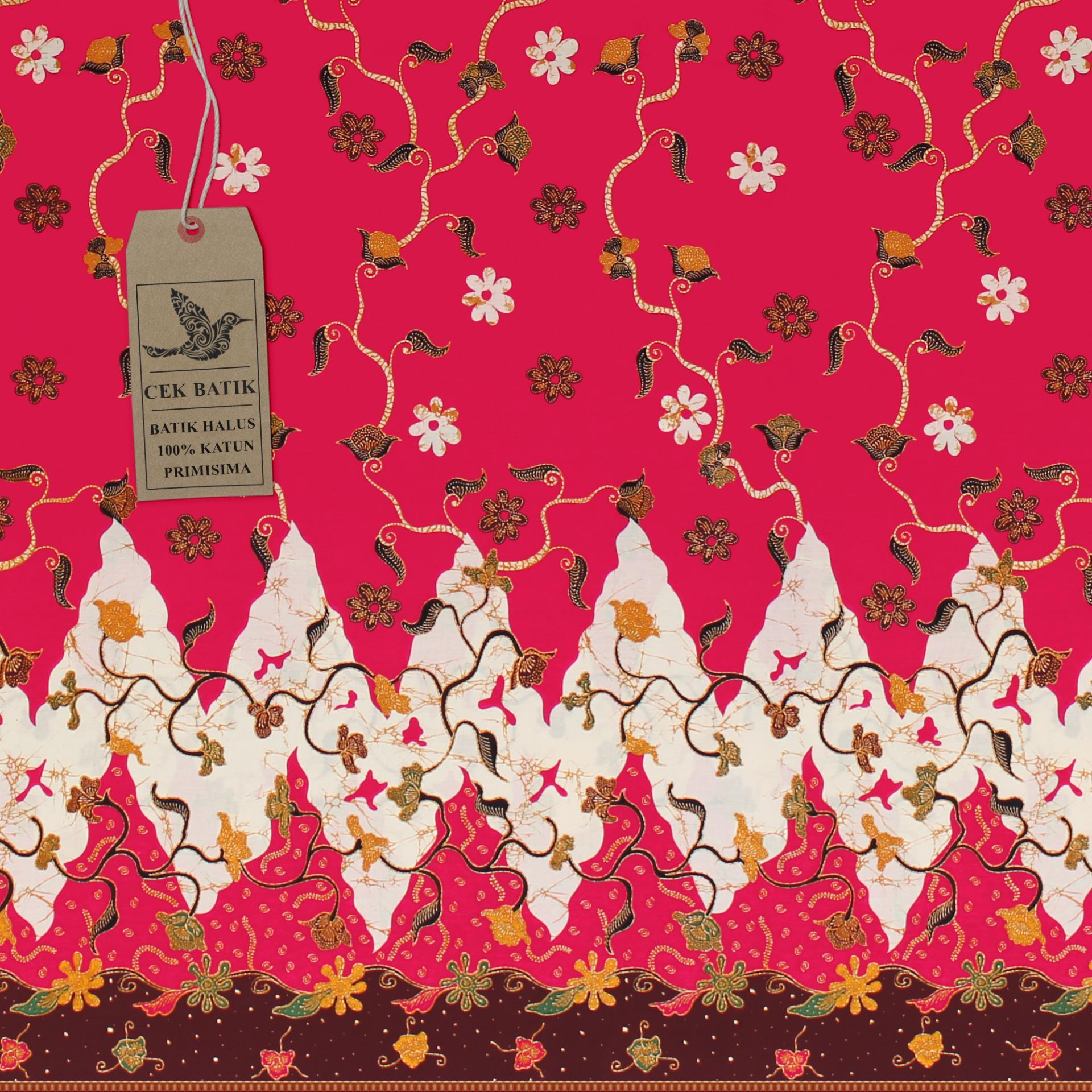Cek Batik - Kain Batik Motif Paras Madura Bunga Unik (Pink)