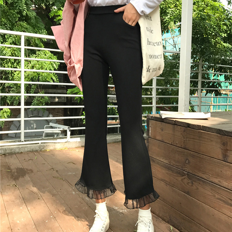 Celana Cargo Korea Fashion Style Musim Gugur Celana Cutbray Slim Terlihat Langsing (Hitam) baju wanita celana wanita