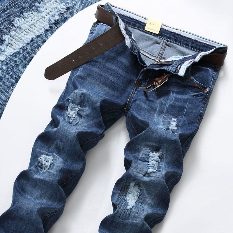 Jual Beli Online Celana Jeans Berlubang Pria Model Tipis Elastis Longgar Lurus 9608 Biru
