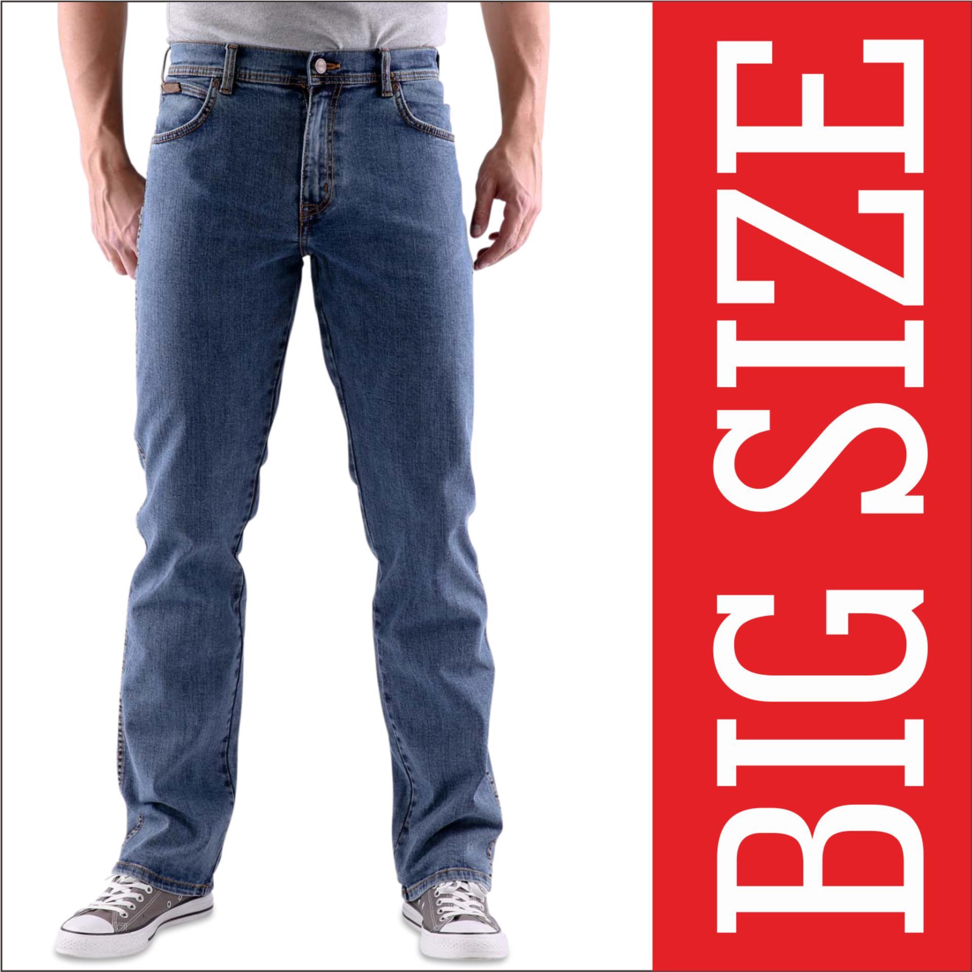 Beli Celana Jeans Big Size Pria Blue Wash Murah Di Indonesia