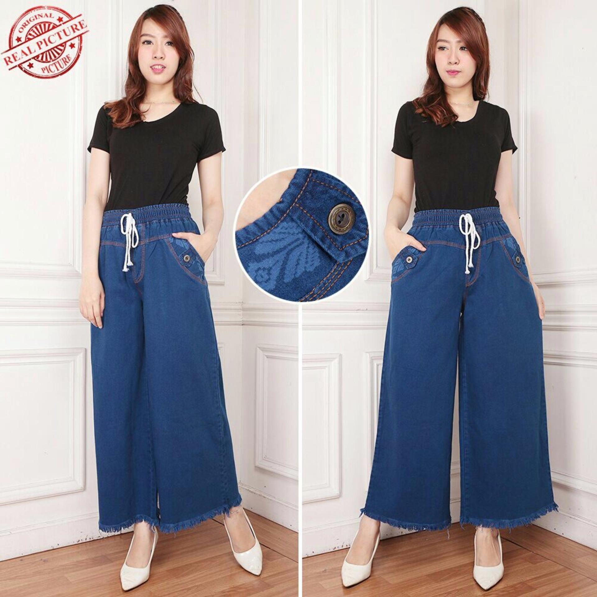 Jual Celana Jeans Kulot Panjang Wanita Jumbo Long Pant Cenny Murah