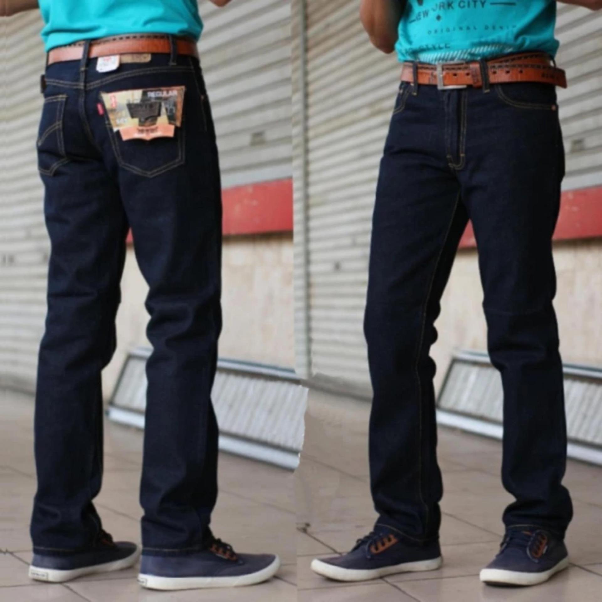Celana Jeans Lvs Regular Fit Standard Pria - Biru Dongker